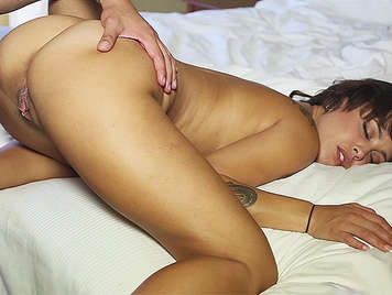 Mulatto girl with incredible pussy fucked wildly until it receives a spectacular cumshot in her open mouth and neck