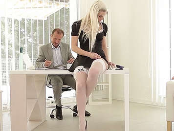 Blanche Bradburry of sexy secretary gets fucked by her pervert bosses