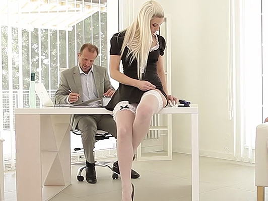 Blanche Bradburry of sexy secretary gets fucked by her bosses