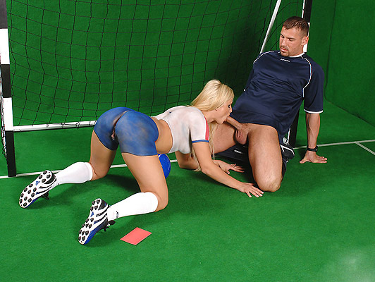 Beautiful blonde with blue eyes Footballer doing a spectacular blowjob to the referee