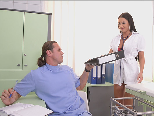 The Sex Clinic Busty Nurse Fucks And Sucks the doctor cock