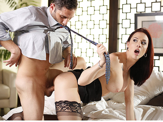 Strict and buxom department head fucks his new personal secretary