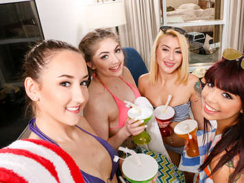 Teenagers Spring Breakers having fun with groupal sex