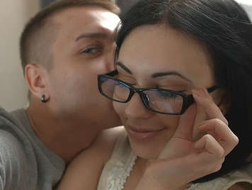 Fucking an exotic brunette with glasses