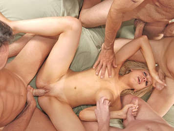 Gangbang with a young hooker busty from Argentina, who loves anal sex
