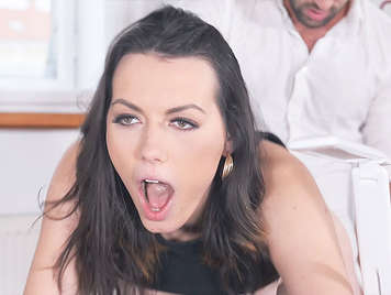 Boss Bangs Brunette wiht big green eyes In Office
