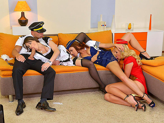 Foursome sex with a French waitress and two flight attendants