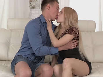 beautiful young couple in porn scene of anal sex