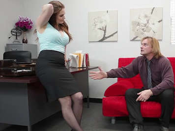Secretary bitch and busty fucks with her boss in the office