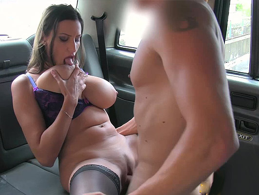 Romanian busty fucked in a taxi, she is thrilled to be watered with abundant sperm between her tits
