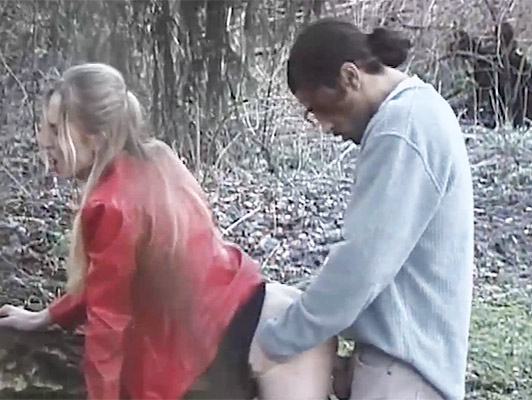 Voyeur films a couple fucking in the woods next to the park