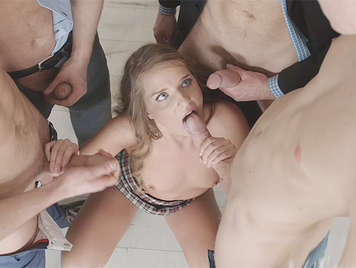 Horny scholgirl in a brutal gangbang and DP