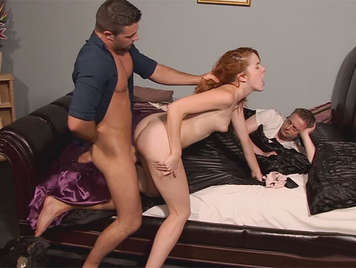 Caught red-handed cheating husband receives his due, his young wife she fucks to the neighbor