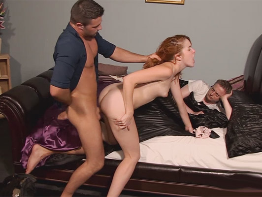 Assed young wife punishes her husband fucking with her neighbor in front of him