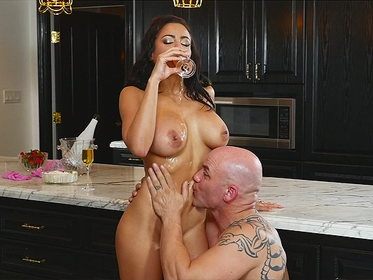 Adjusting the cock, to the narrow pussy, of a posh girl with big tits