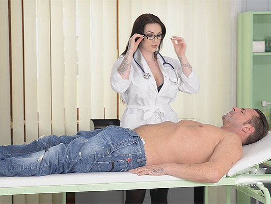 Dr. busty sucking a cock between her tits