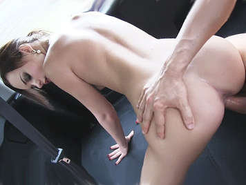 Assed little French girl Amateur fucked hard in a car