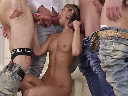 Gangbang orgy with double penetrations with Gina Gerson
