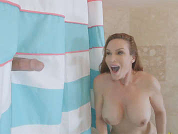 Busty mature fucking in the shower with huge cock of the Latin gardener
