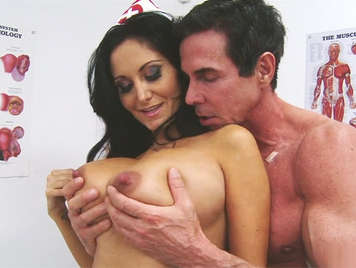 Mature nurse with big tits check the hardness of the cock of a patient