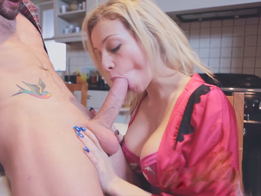 Chessie swallows a huge cock, putting it hard for fucks until her man cums on top of her