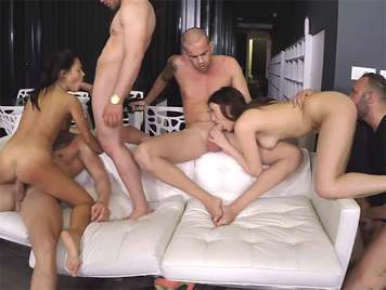 Apolonia Lapiedra and Penelope Cum in their first gangbang