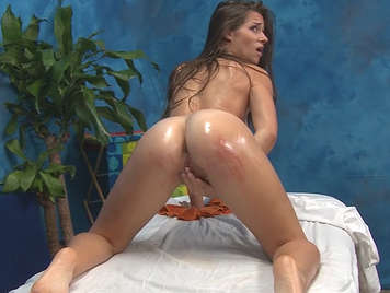 Flexible girl Penetrated On the massage table
