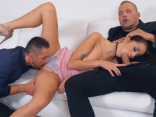 Two hard cocks for a brunette beauty of eastern europe