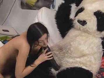 Young college girl fucking a panda