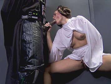 Princess Leia making him a blow job to Darth Vader.