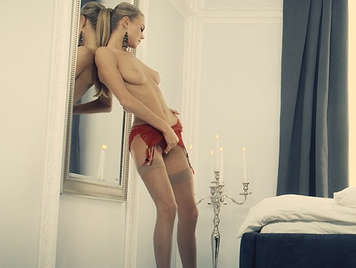 Blonde girl Nancy A preps for sex