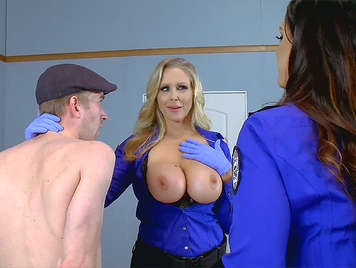 Two policemen horny with big tits fucking a passenger customs
