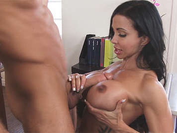 Busty mature teacher loves sucking big cock between her tits