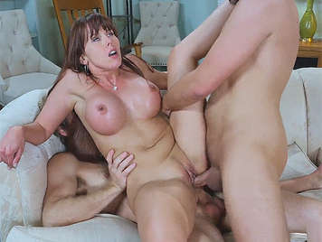 Double penetration to a horny milf with a large and hard tits
