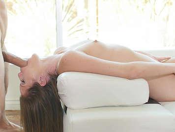 Sensual blowjob porn video with a thin girl natural body