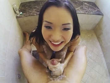 Fucking in POV with an Asian babe slut in the shower