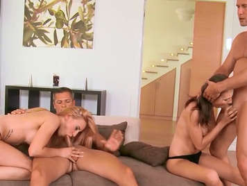 sexual quartet with luxury European girls