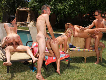 A swinger anal orgy in the pool, of some friends horny and saucy