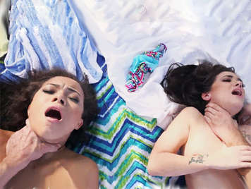 Two young ladies on the beach fucked violently