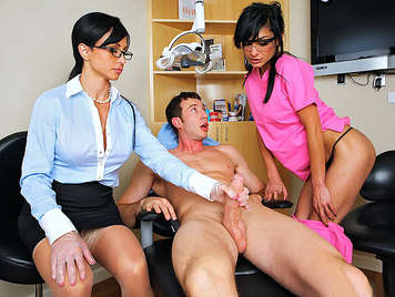 Busty Milf Doctor and the assistant nurse sucking the cock a pleased patient
