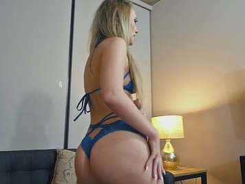 Blonde with nice ass in lingerie
