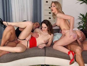 Cuarteto De Sexo Caliente Y Dulce Con Dos Chicas Europeas Descaradas