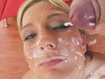 Bukkake with many guys cum on face
