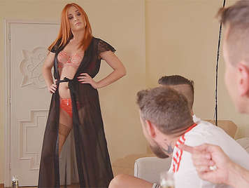 redhead Russian girl to provoke three men with big cocks