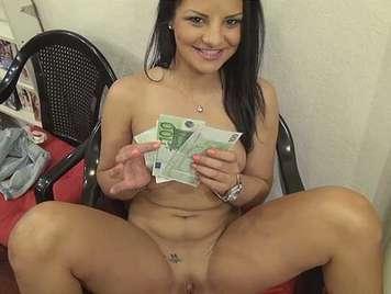 Czech brunette sells shaved pussy for money