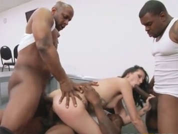 3 black interracial quartet with a MILF