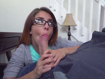 Young babe with glasses suck the cock of her step father and then they go to fuck