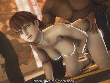Porno Hentai 3D. una orgia de pollas follando y eyaculando encima de una chica con grandes tetas