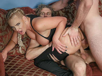 Dr. busty blonde taking milk of two cocks at once in the sperm bank