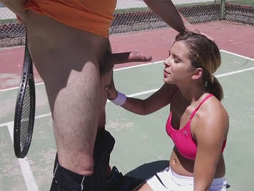 Coach and student fucking on the tennis court